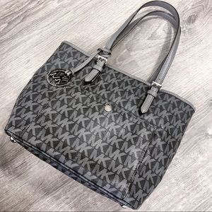 MICHAEL KORS JET SET LEATHER TOTE GREY BLACK